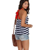 Navy Striped Bow Back Top