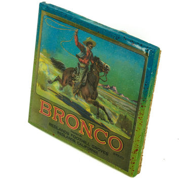 Bronco Brand - Vintage Citrus Crate Label - Handmade Recycled Tile Coaster