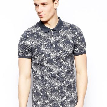 Esprit Polo Shirt With Feather Print - Indigo blue