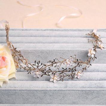 ONETOW Handmade Gold Leaf Wedding Headband Bridal Jewelry Floral Hair Accessories Vintage Women Headbands Tiara