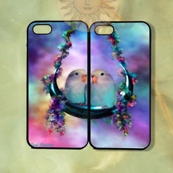 Love Birds Couple Cases -iPhone 5, 5s, 5c, 4s, iphone 4 case, ipod 5, Samsung GS3 Gs4 -Silicone Rubber or Hard Plastic Case, Phone cover