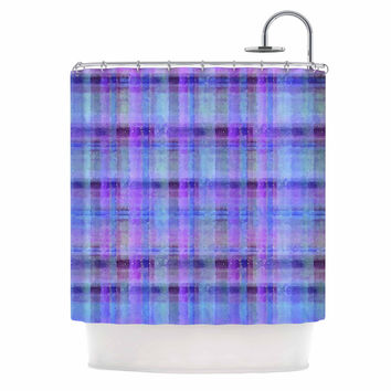 "Carolyn Greifeld ""Watercolor Blue Plaid"" Purple Pattern Shower Curtain"