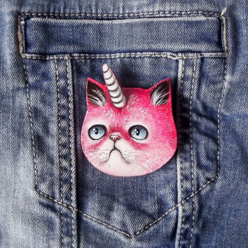 Pink unicat pin - cat unicorn brooch