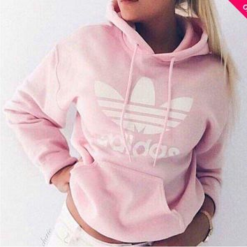 PEAPDQ7 Pink Adidas Print Women's Long Sleeve Hoodies Sweater