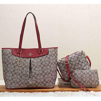 COACH Women Leather Fashion Handbag Tote Shoulder Bag Crossbody Set Two Piece