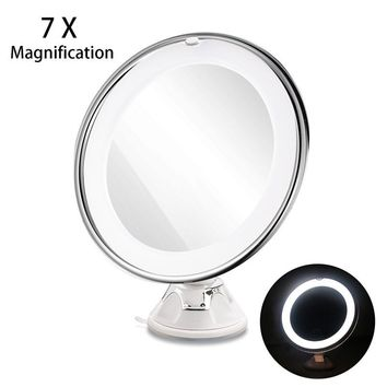 RUIMIO 7X Magnifying Makeup Mirror with Power Locking Suction Cup Bright Diffused Light and 360 Degree Rotating Adjustable Arm