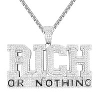 Double Layer Rich Or Nothing Hip Hop Style Mens Pendant Chain