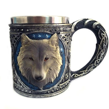Game of Thrones 3D Wolf Mug Stainless Steel Wine glasses gilf Whiskey Cup Party Drinking Skeleton Claw Beer Steins