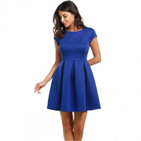 Women Sexy Cap Sleeve Backless Skater Pleated Cocktail Party Dress