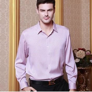 2018 High-grade men's silk shirt with long sleeves hangzhou high-grade 100%  mulberry silk shirt in silk satin blockbuster