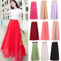 Women Chiffon Long Skirts Candy Color Pleated Maxi Skirts  2017 Spring Summer Skirts M  L XL 17 Colors