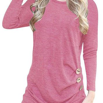 Pink Crew Neck Long Sleeves Causal T-shirt
