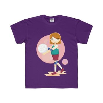 Girl Volleyball Player Youth Regular Fit Tee
