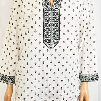 Charter Club Women White Embroidered Printed Tunic Blouse Top X-Large XL