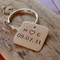 Couples Initials and Date Hand Stamped Keychain