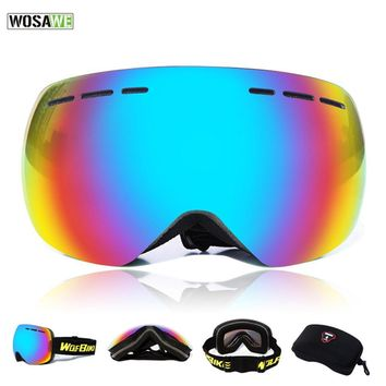 WOSAWE Ski Goggles Double Lens UV400 Anti-fog Ski Mask Glasses Skiing Men Women Motocross Snow Snowboard Goggles UV Protection