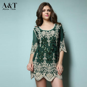 New Women 2015 Summer Autumn Vintage Plus size Heart Embroidery Sequins Paillette Short Mini Party Dresses Muslim Vestidos Green
