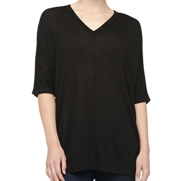 V-Neck Silk Jersey Poncho, Black - Michael Kors