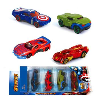 4pcs/set Alloy Diecast Car Models Pull Back Collection Avengers Toy Cars for children Iron Man Hulk Spiderman Captain America