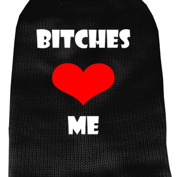 Bitches Love Me Screen Print Knit Pet Sweater Xxl Black