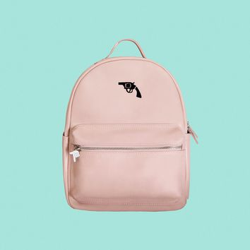 Gun PU Leather Backpack