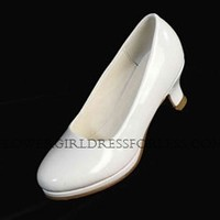Flower Girl Shoe Style S74 - Simple Soft Patent Shoe with Heel - Flower Girl Dress For Less