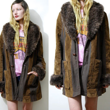 70s Vintage FAUX FUR Trim Jacket Penny Lane Coat Brown Velvet Bohemian Hippie Boho 1970s vtg M L