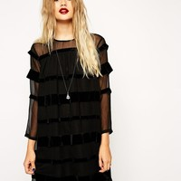 ASOS | ASOS Swing Dress with Velvet Ribbon Stripe at ASOS