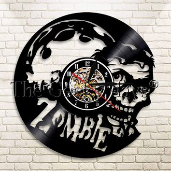 1Piece Horror Zombie Skull Vinyl Record Wall Clock Vintage Modern Home Decorative Color Changing For Halloween