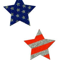 Red White and Blue Star Glitter Pasties
