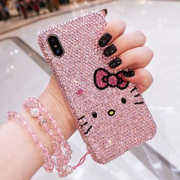 For iPhone 8 8plus Luxury Bling Crystal  Diamond Hello Kitty case for iphone X 6 6S 6Splus 7 7plus hard back case gift case