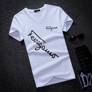 High-quality V-neck Short Sleeve Cotton Men T-shirt