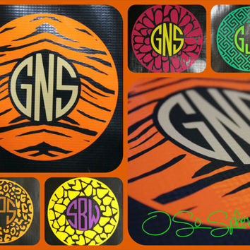 "6"" Custom Circle Monogram Car Decal - Tiger Pattern Outer Circle - Personalized Sticker"
