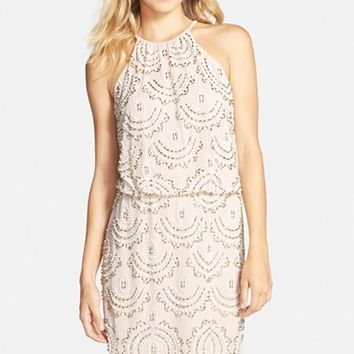 Women's Xscape Beaded Halter Blouson Dress,