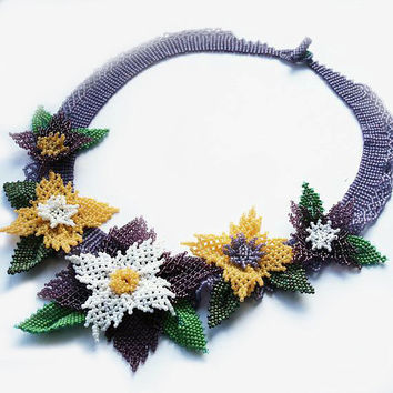 seed bead necklace, seed bead collar, beaded necklace, beadwoven necklace, beadwork, flower necklace, seed bead jewelry, gift idea, bohemian