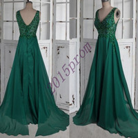 Dark Green Beaded Evening Dresses,Vintage Chiffon Party Dresses,V-neck Chiffon Prom Dresses,Formal Party Grown