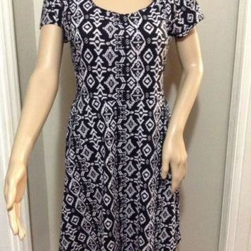 WOMENS BOBBIE BROOKS CUTE GEO PATTERN DRESS EMPIRE WAIST Cap Sleeve Medium