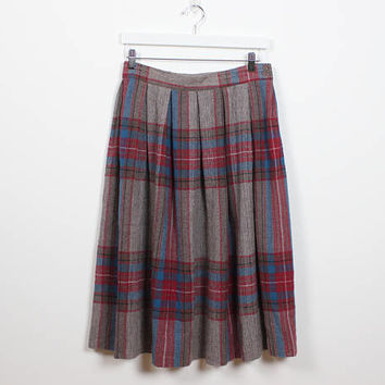 Vintage 70s Skirt Tan Pink Blue Plaid Midi Skirt High Waisted Skirt Pleated Skirt Preppy 1970s Skirt Classic Modest School Girl M Medium L