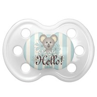 Cute animal personalized pastel striped pacifiers for baby boys and girls: Kawaii baby koala design: Neutral baby shower unique gift idea