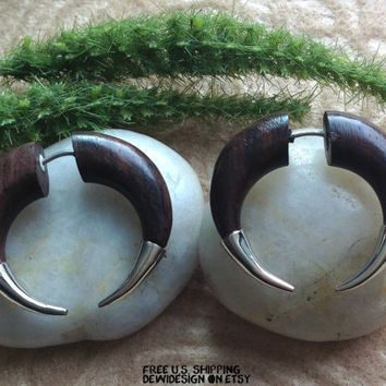 "Fake Gauge Earrings, ""Penny"" Sono Wood, Silver, Natural, Handcrafted, Tribal"