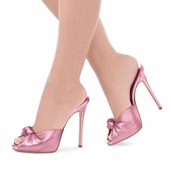 Women High Heel Knotted Mules Sexy Ladies Black Red Velvet Summer Shoes Peep Toe Sandals Party Evening Dress Heels Big Size