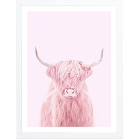 Pink Highland Cow Framed Art