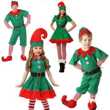 Cool 2018 Women Men Boy Girl Christmas Elf Costume Kids Adults Family Green Elf Cosplay Costumes Carnival for Party Supplies PurimAT_93_12