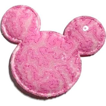 "Pink sequin 2.5"" Minnie Mouse padded appliqués"