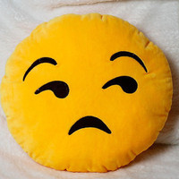 Meh Yellow Emoji Pillow