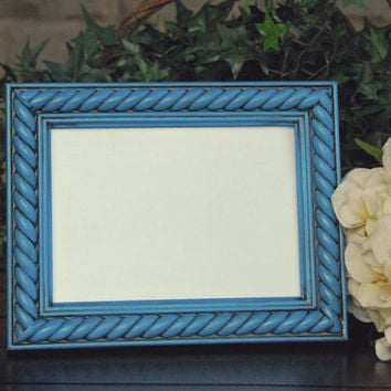 Rustic photo frame: Vintage antique blue 5x7 hand-painted decorative wooden rope tabletop picture frame with easel back