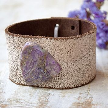 Southwest Amethyst leather cuff bracelet Bohemian