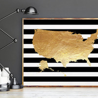 USA MAP ART,Black And Gold,Gold Foil,Map Print,World Map,Map Of The World,Office Decor,Dorm Room Decor,Office Sign,Home Decor,Digital Print