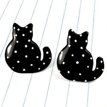polka dot cat earrings - cat earrings - cat studs - cat jewelry - black cat earrings - black cat jewelry - cats - cat - black earrings