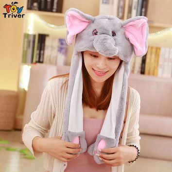 Funny Animals Rabbit Elephant Pig Unicorn Totoro Koala Bunny Hat Ears Moving Plush Toy Party Dance Girl Kids Girlfriend Gift